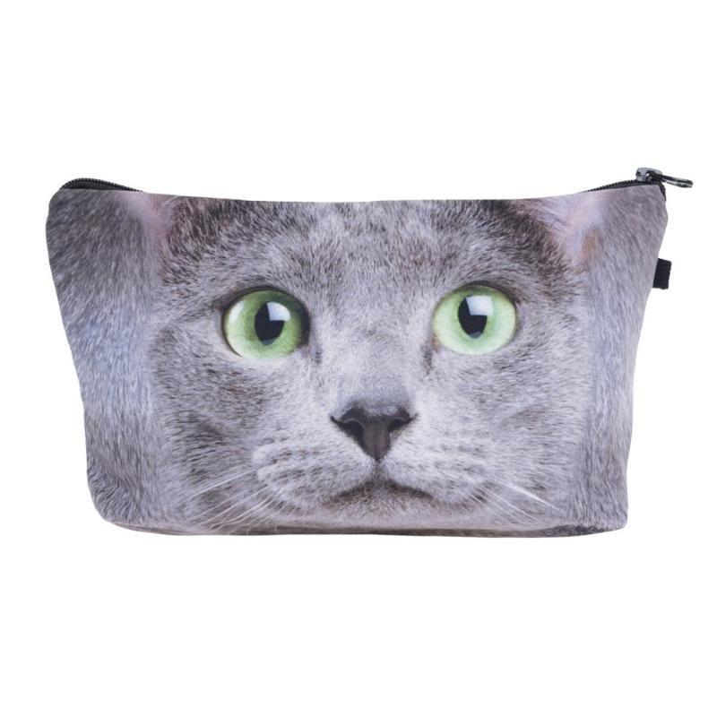 Moda Cosmetic Bag Imprimir Mulheres maquiagem sacos bonito headset saco de doces Cosmetic Bagsdigital imprimir homens coleção do gato de novo