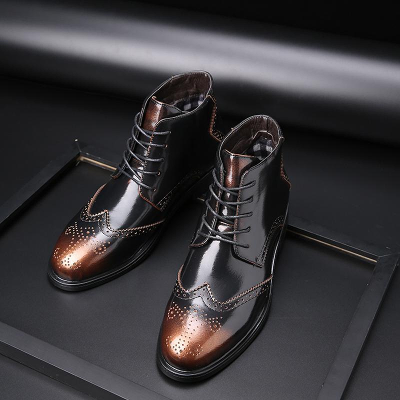 38-48 botas de couro homens confortável marca de moda 2019 homens sapatos # SY769