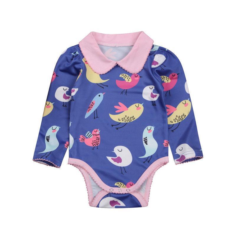 0-18M sveglia Neonata appena nata animali Uccelli Peter Pan collare maniche lunghe in cotone Body Costume prendisole