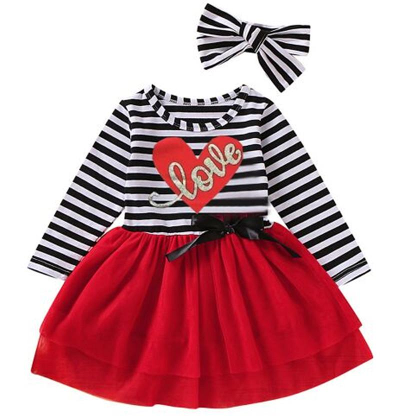 1-6T Girls Valentine'S Day Toddler Kid Girl Dress Headband Outfits Striped Flowers Embroidered Mesh Lace Tutu Dress For Girls
