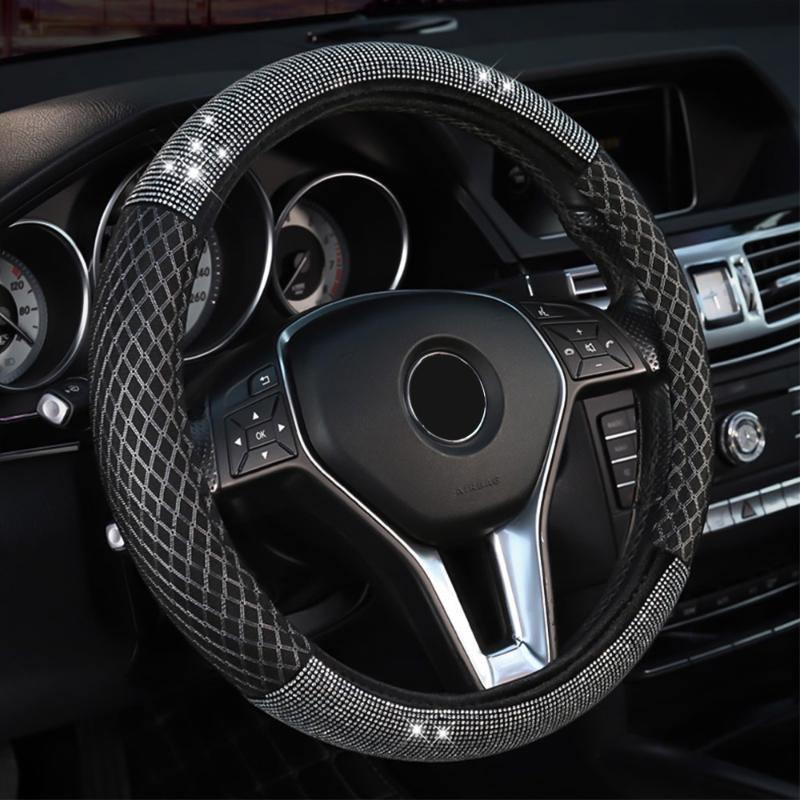 38см / 15 «» Черный Мерцание алмаз Кожа PU автомобилей Руль Обложка дышащий Non-Slip Ice Шелковый для Леди черный