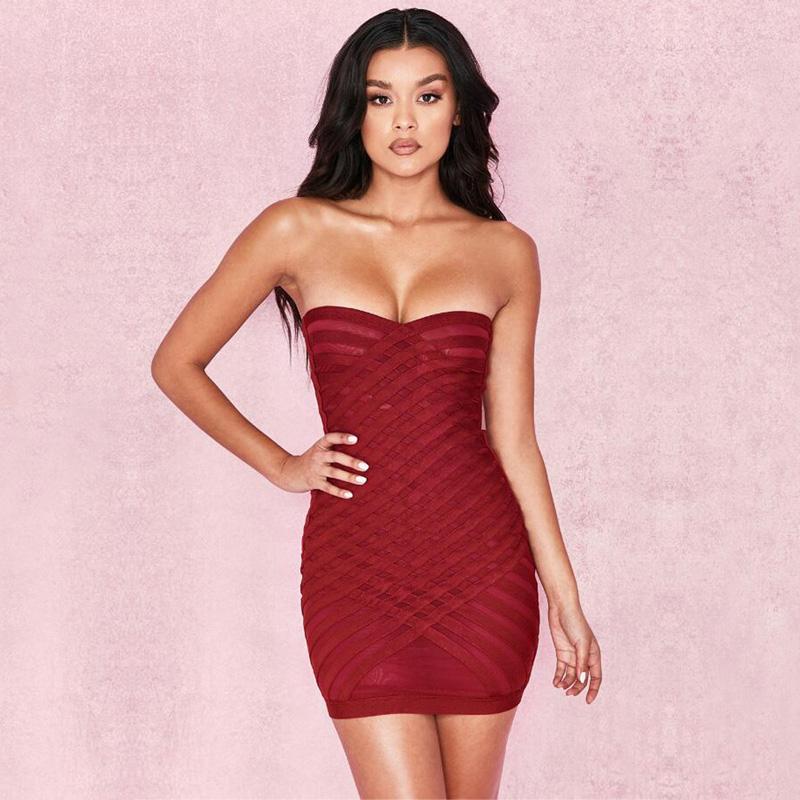Günlük Elbiseler Kadınlar Seksi Bandaj Dres 2021 Stil Moda Şarap Kırmızı Kapalı Omuz Straplez Yaz Gece Dışarı Partisi Vestido Toptan