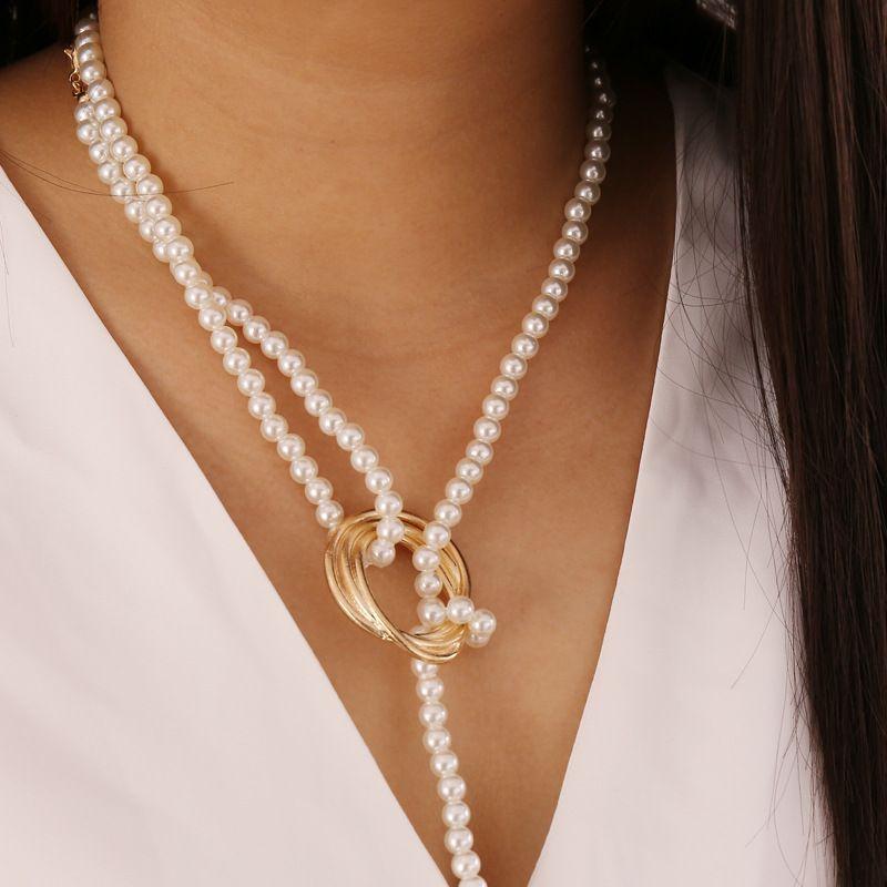 간단한 긴 나비 펜던트 목걸이 여성 모조 진주 초커 목걸이 팜므 액세서리