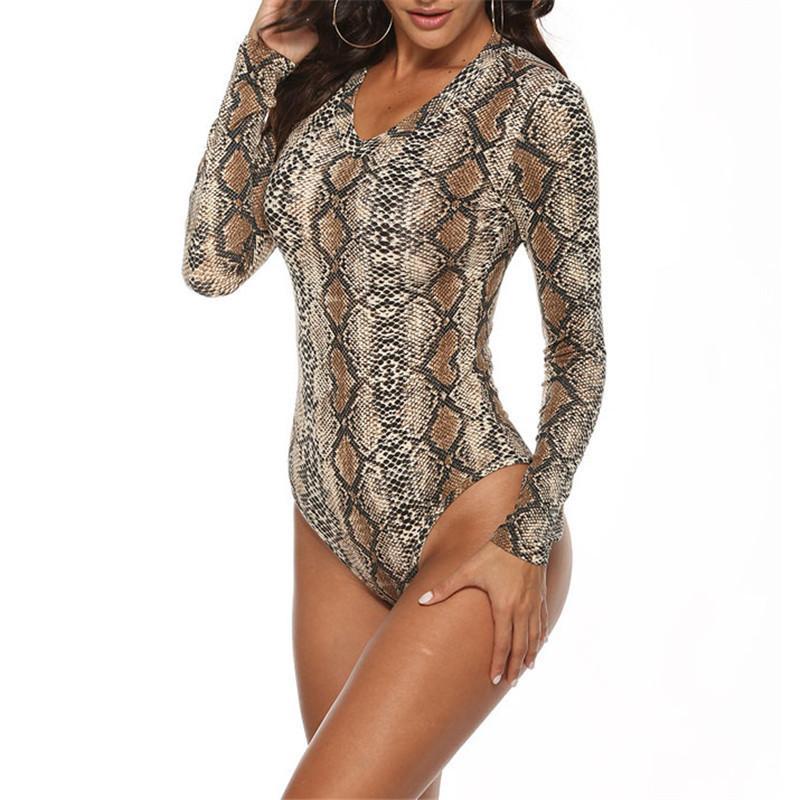 Костюм Printed Змея Тигр Leopard Bodysuits женщин с длинным рукавом Боди Топы Sexy Bodycon Bodysuits V шеи Комбинезоны Новая весна M0262 T200611