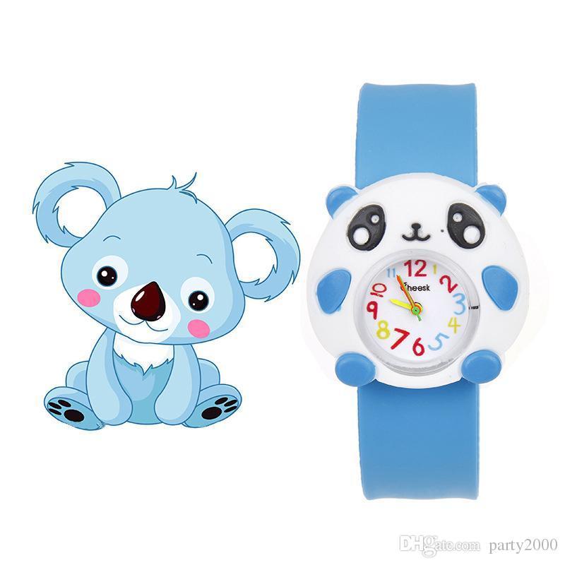 Kinderuhren für Mädchen-Jungen-Karikatur brid schlagen Kinder Jungen Armbanduhr Silikongeleeuhr Kinder-Baby-Sportuhr