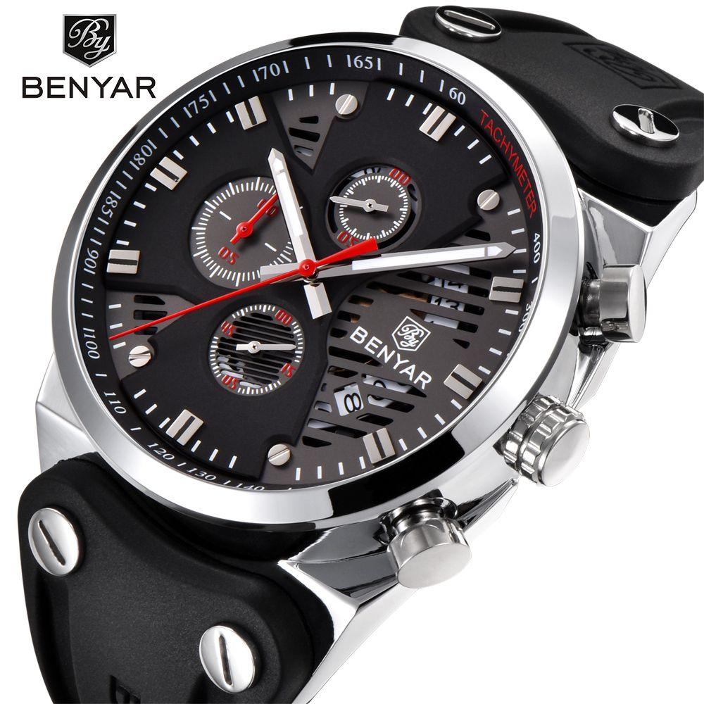 BENYAR 2018 Новый Скелет календарь Мужские часы Chronograph Real Три набора водонепроницаемый 30M Открытый Hollow спортивные часы белый красный
