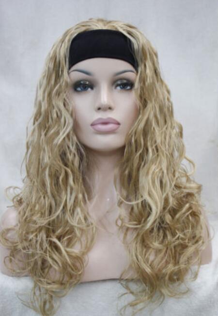 Perruque avec serre-tête pour femmes WIGZCD HOT Free Golden Blonde longue et bouclée quotidienne 3/4