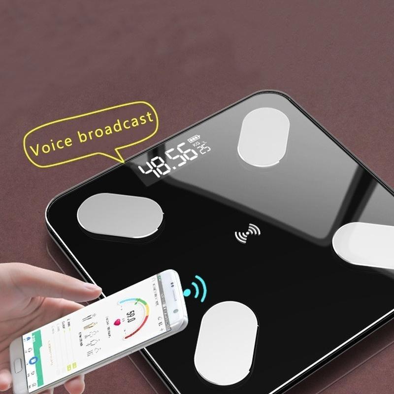 Elektronische Waagen mit Körperfettwaage Haushalt Körper Health Skala Ausgeglichenes Glas Waagen genaue li Stift cheng Batterie-Waage