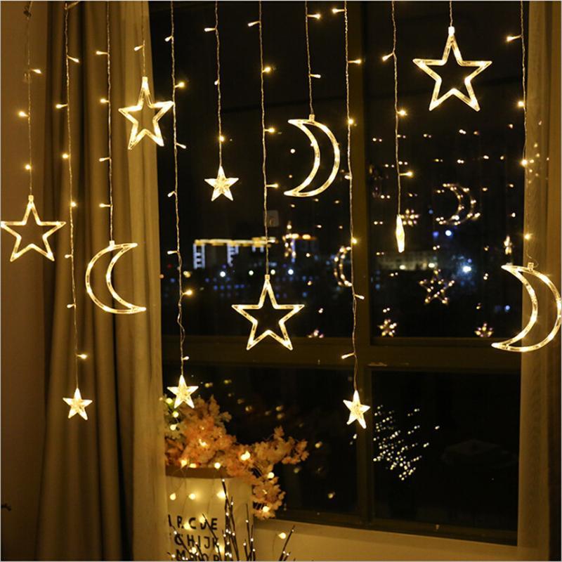2.5M 138 led Ay yıldız peri ışık Noel Tatili Perde Işıklar düğün Pencere ev partisi dekorasyon için led dize ışık çelenk