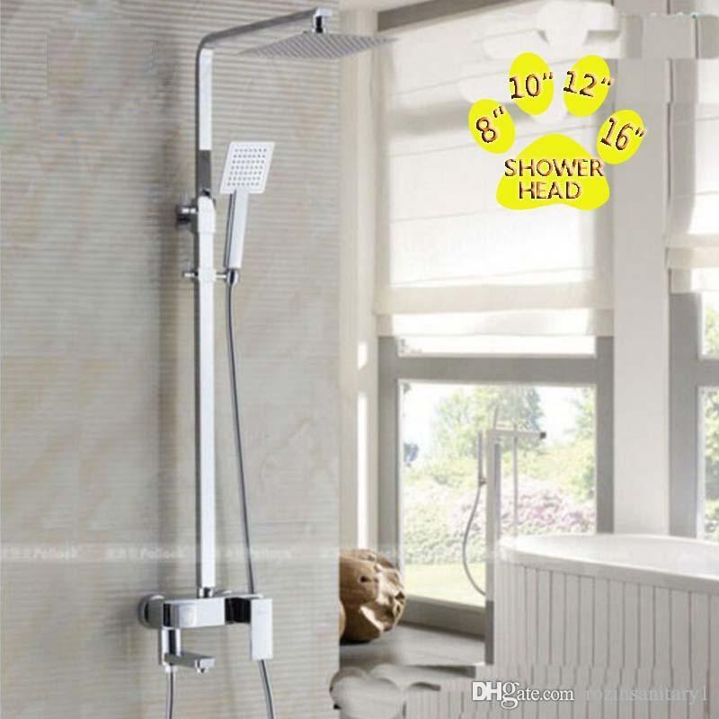 """Promozione Chrome Brass8 """"/ 10"""" / 12 """"/ 16"""" Set di rubinetti per doccia a pioggia Miscelatore per doccia Miscelatore per doccia Colonna per doccia"""