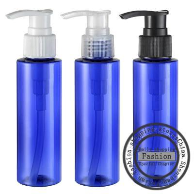 Livraison gratuite, 30pcs, 100ml bouteilles bleues de la pompe à vis d'épaule plat, des bouteilles de shampooing dédié, bouteilles réutilisables