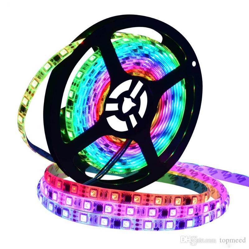 30/60 LEDs / M 2,811 tira de píxeles programable individual direccionable LED Digital WS2811 luz de la lámpara Tape 5050 RGB 12V Negro LED