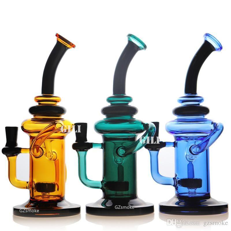 "Recycler Glass Bong Dab Rig 10"" Vortex Tornado Percolator Colorful Bongs Water Pipes Oil Dab Rigs Quartz Banger Or Bowln dabber Cyclone"