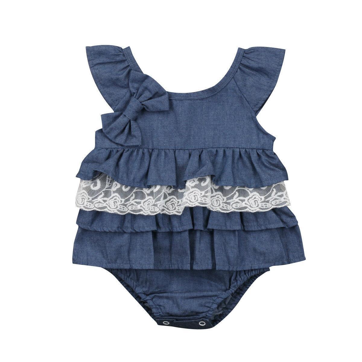 Cute Newborn Baby Girl Summer Ruffles Romper Suit Kids Infant Lace Tutu Denim Jeans One-Piece Rompers Clothes Jumpsuit Sunsuit