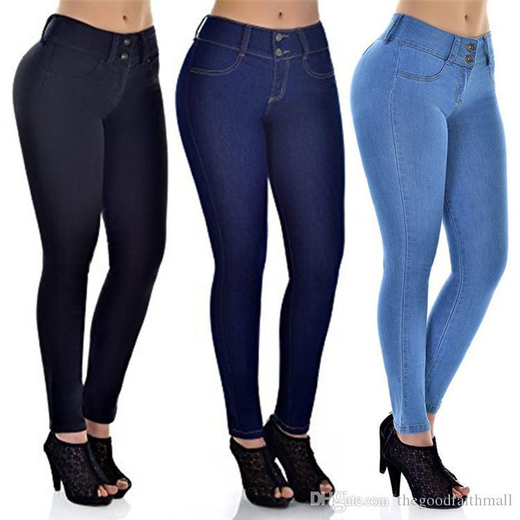 Compre Jeans Ajustados Simples Para Mujer Pantalones De Color Solido De Moda Sexy Pantalones Vaqueros Azul Oscuro Azul Oscuro Apriete Las Caderas Y La Cintura Elastico A 13 07 Del Thegoodfaithmall Dhgate Com