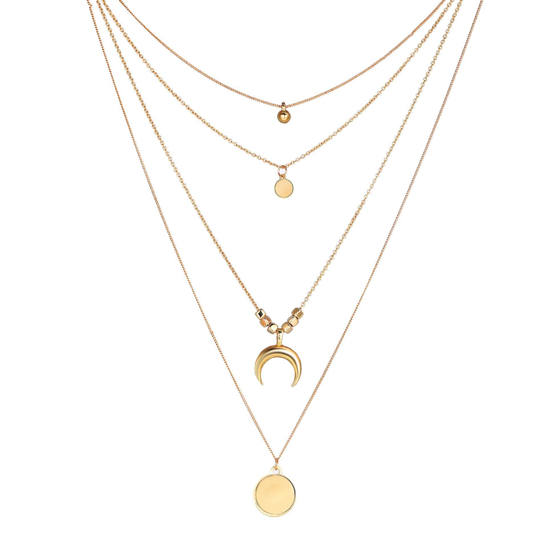 Чешские ювелирные изделия 2019 Ожерелье для женщин мода Золотой цвет медальон ожерелье несколько слоев кулон длинные ожерелья женский Оптовая