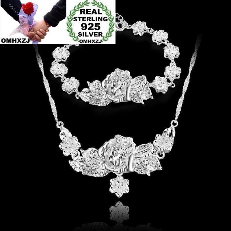 OMHXZJ بالجملة الشخصية سلسلة أزياء المرأة فتاة هدية زهرة الفضة 925 فضة سوار + قلادة مجموعة مجوهرات SE34
