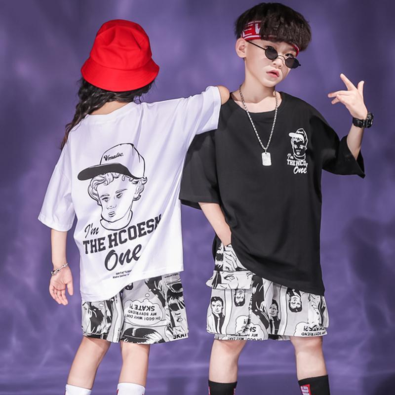Nuevo Hip Hop ropa de los niños del traje de Jazz de Verano Traje Top + Pant Patrón Niños / Niñas Ropa Hip Hop Street Dance Wear BL2012