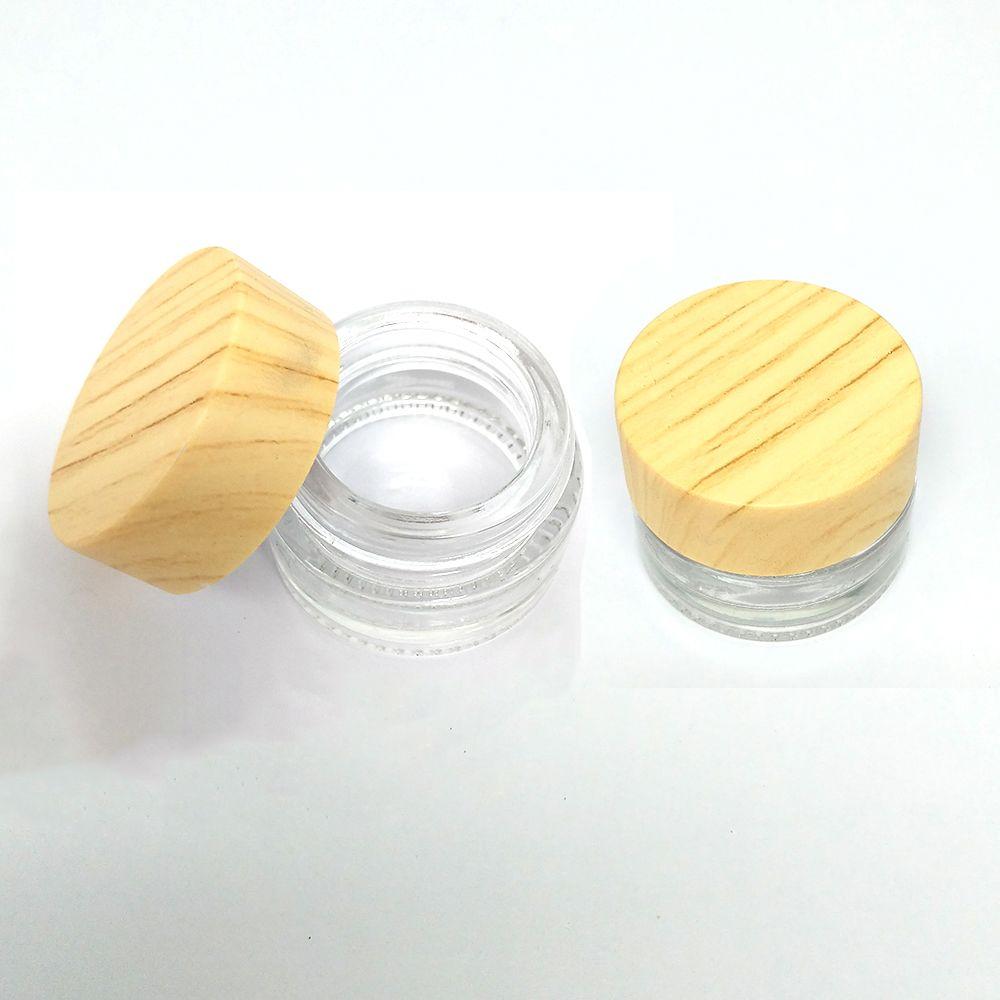 Прозрачное стекло бутылки Jar Cream Wax Oil Container Пластиковые волокна древесины Стеклянная крышка баночки бак Косметические контейнеры из стекла Ящик для хранения Упаковка