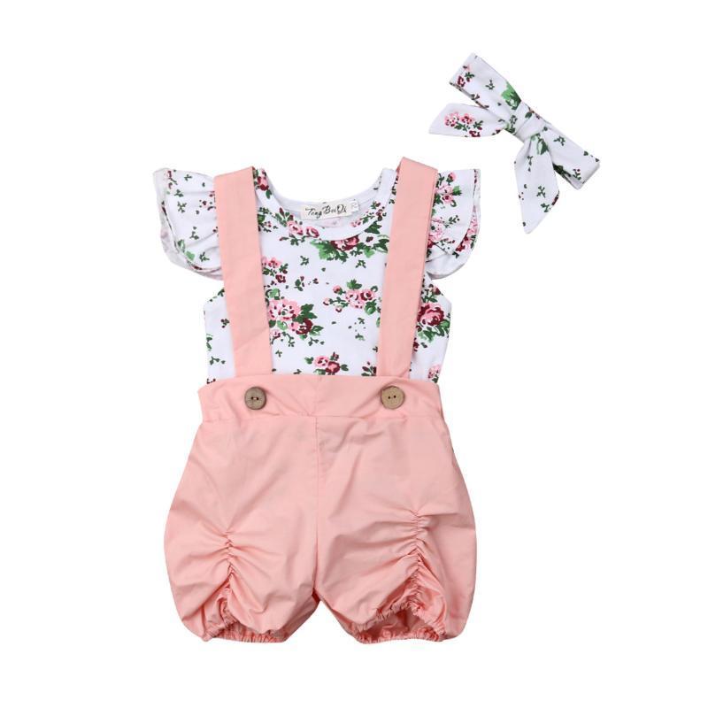 Nouveau-né tout-petits enfants Bébés filles Vêtements d'été 3PCS imprimé floral manches Volants Romper Tops + Salopette Shorts Bandeau