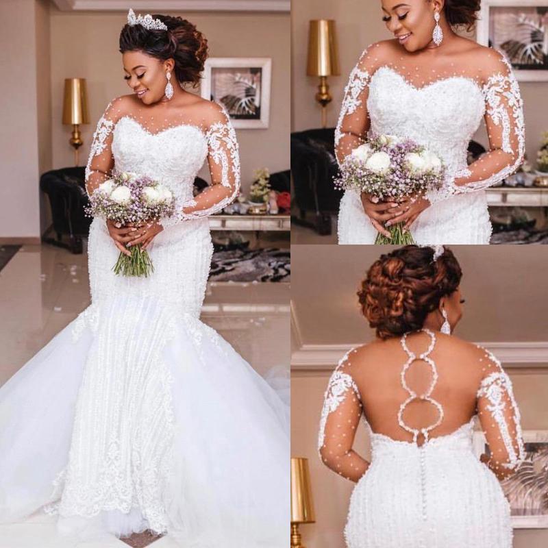 2020 Perles de luxe Mermaid Robes de mariée à manches longues Appliques perles de mariage africaine Robes de mariée de mariage Afrique Plus Bridal Vestido de Noiva