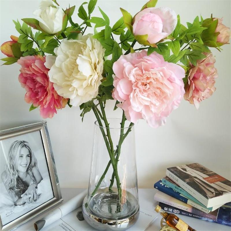 """Sahte Kısa 23,62"""" Uzunluk Simülasyon Avrupa Şakayık Düğün Ev Dekoratif Yapay Çiçekler için Şakayık (2 kafaları / adet) Kök"""