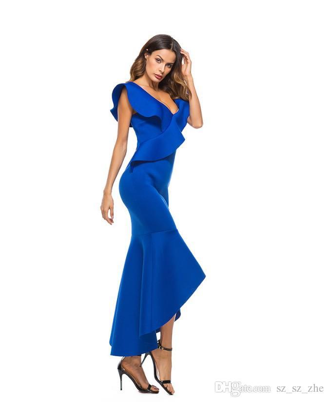 2019 hot style European and American women sexy dress backless irregular fishtail skirt temperament evening dress 2 color 4 size2019 hot fas
