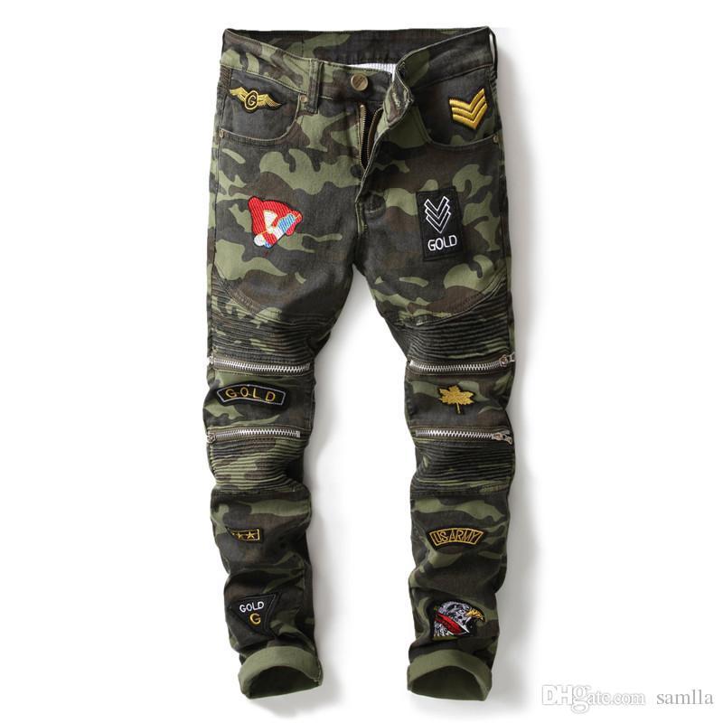 Mans Dikiş Kamuflaj Jeans Moda Erkek Giyim Hip Hop Patchwork Diz Fermuar Tam Boy Kalem Pant