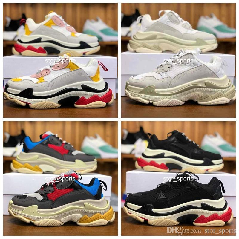 Designer de moda balenciaga triple s shoes 17FW Triplo-S 2018 Sapatilhas Triplo Desi Pai De Luxo Sapatos para Mulheres Dos Homens Bege Preto Sports Running Shoes 36-45