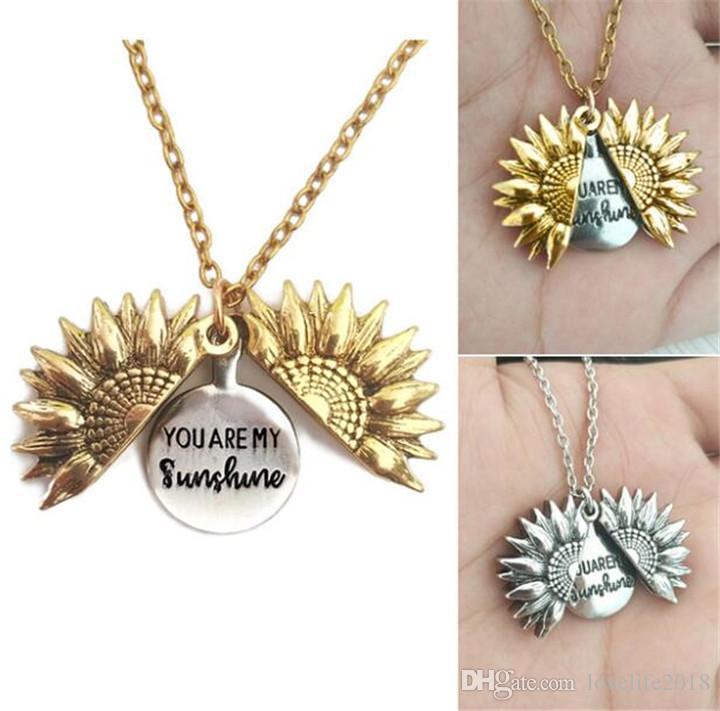 New Fahion femmes Collier d'or personnalisé Vous êtes mon soleil Ouvrir Médaillon de tournesol Pendentif Collier Bijoux fin T592
