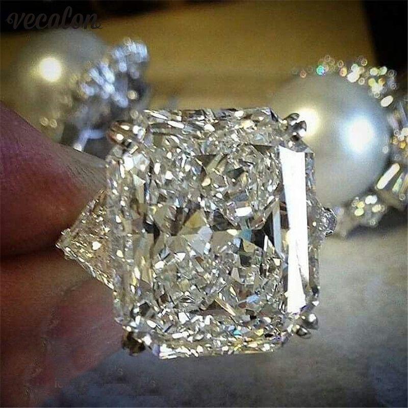 Vecalon Aussage ring 925 Sterling Silber Kissen geschnitten 8ct Diamant Engagement Hochzeit Band Ringe Für Frauen Party Finger Schmuck