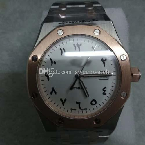 4 cores mens carvalhos reais relógios algarismos Arábicos caixa de prata pulseira de aço inoxidável automático deslizar suave segunda mão assistir 2019