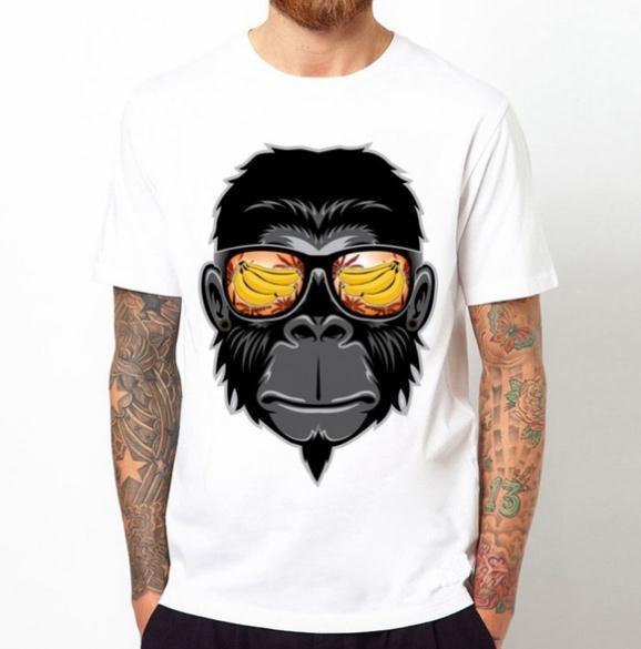 2019 Moda Masculina Legal Macaco Com Óculos De Sol Impresso T-Shirt O Pescoço Dos Homens T Camisa de Manga Curta Design Novidade Tops Legal Tee C011