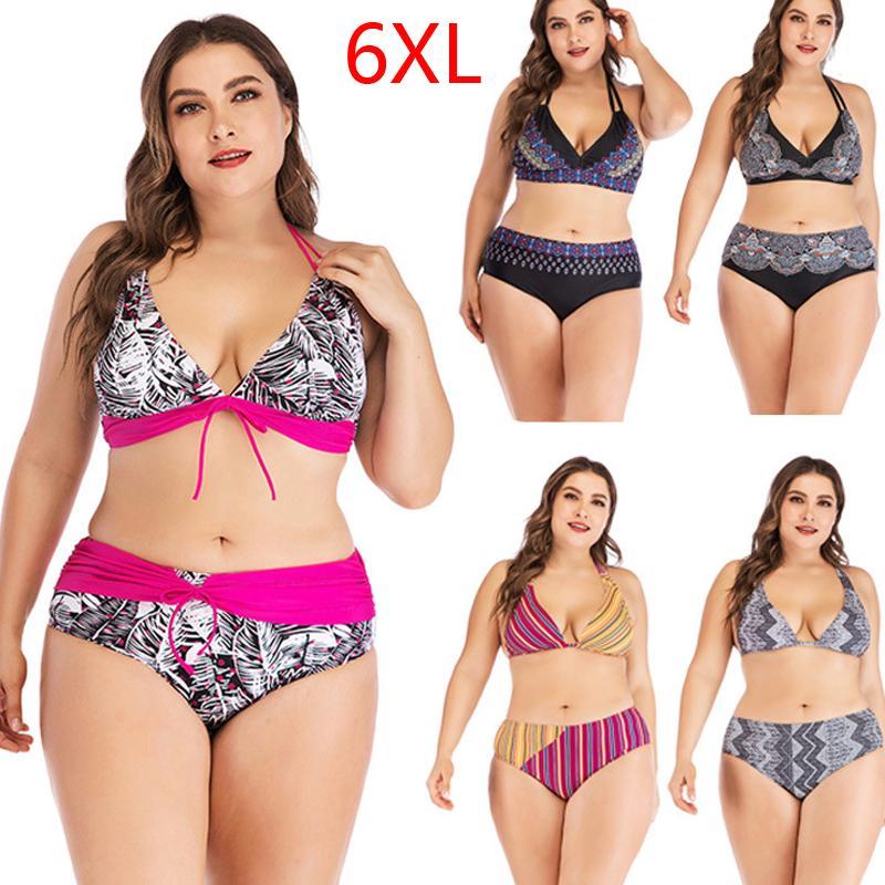 Más el tamaño 6XL Bikini de la taza grande del traje de baño de las mujeres retro de cuello halter cruzado del juego de natación de la alta cintura del tamaño grande de traje de baño Biquini
