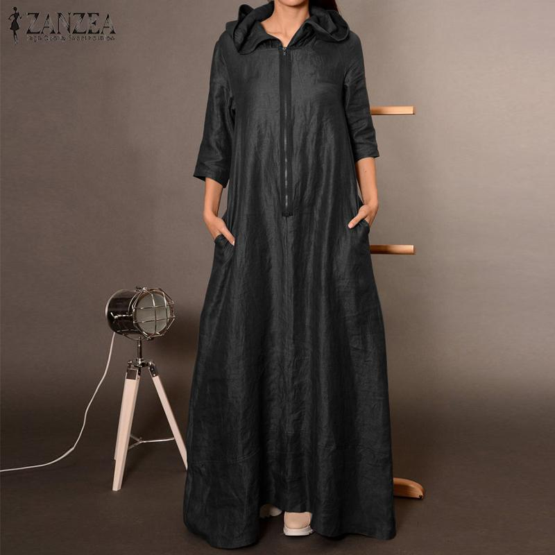 ZANZEA Mulheres Vintage Hoodies Vestido Outono 3/4 de Zipper Maxi sundress longos das senhoras elegantes Trabalho OL Sólidos Vestido Kaftan Robe