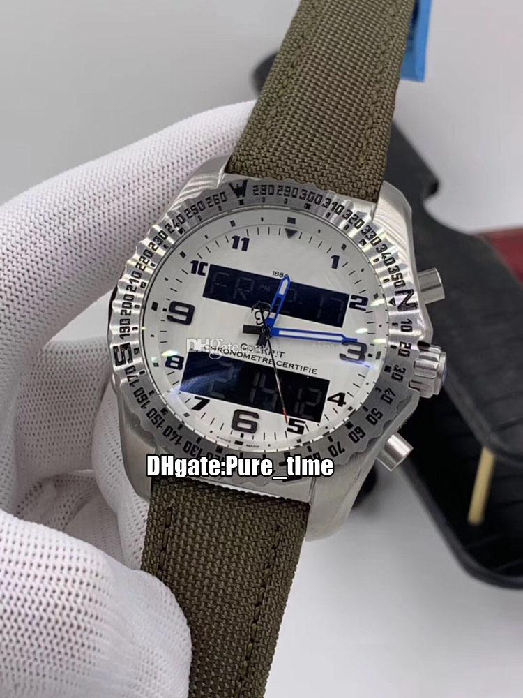 New Aerospace B50 EB501022.BD40 White Dial Quartz Chronograph Mens Watch Electronic&Analog LCD Digital Display Steel Case Nylon Strap Watche