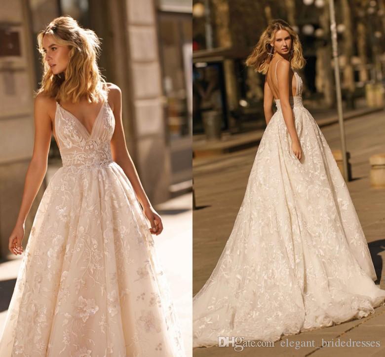 Nuevo Diseño 2020 Berta boda vestidos de encaje apliques una línea de correas espaguetis sin respaldo vestidos de novia por encargo