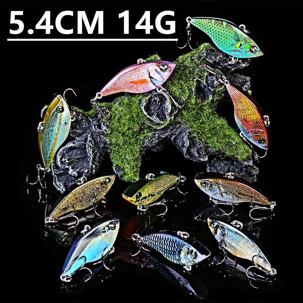 Karışık 10 Renk 5.4cm 14g VIB Balıkçılık Kancalar Balık oltaları 8 # Kanca Plastik Sabit yemler Yemler Pesca olta takımları Aksesuarlar z-5