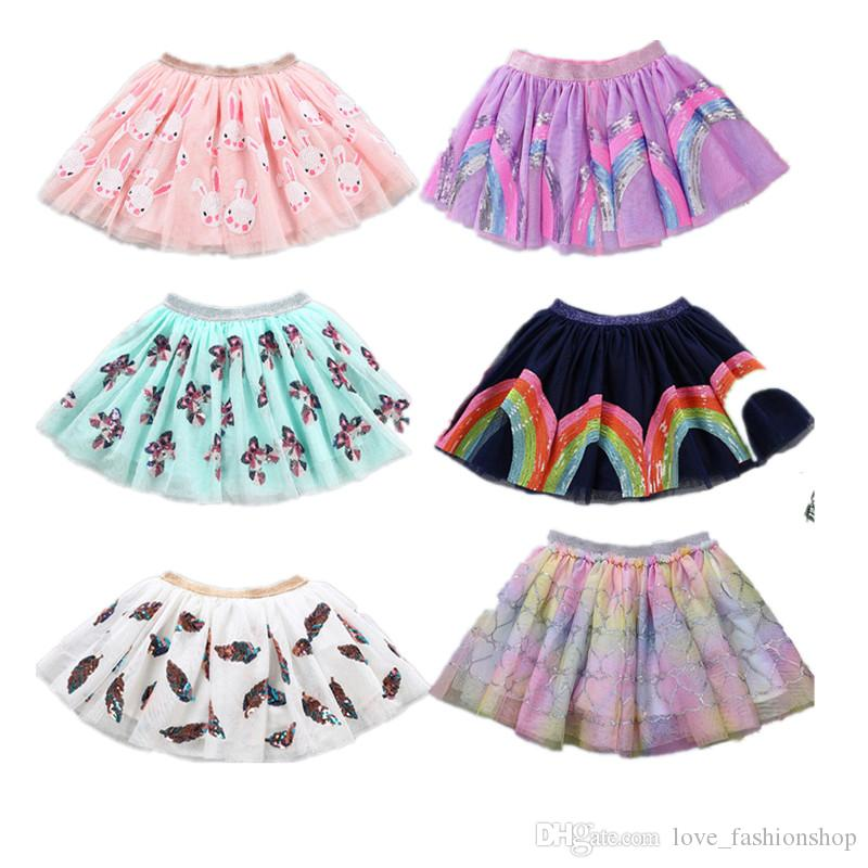 Retail kids luxury designer clothes girls cartoon sequins unicorn tulle skirt fashion pleated tutu skirts children boutique clothing 50% off