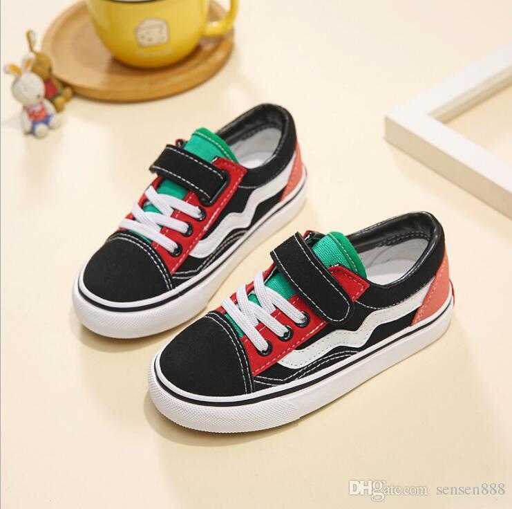 Zapatos para niños Lienzo para niños Zapatos para niños Otoño Zapatillas de deporte negras 2018 Sólido blanco Niños Niños Chicas Zapatos de lona Zapatillas de deporte para exteriores
