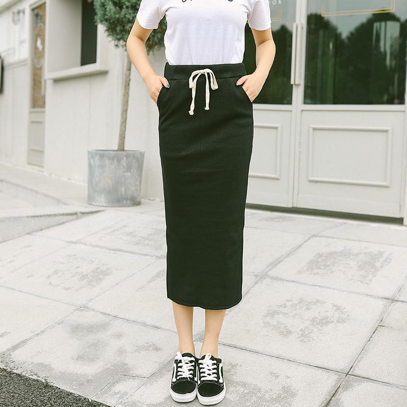crEzM tek adımlı Kış Kore yeni örme etek bel uzunluğu yüksek kalem ince kalem elbise Sonbahar One-Step etek