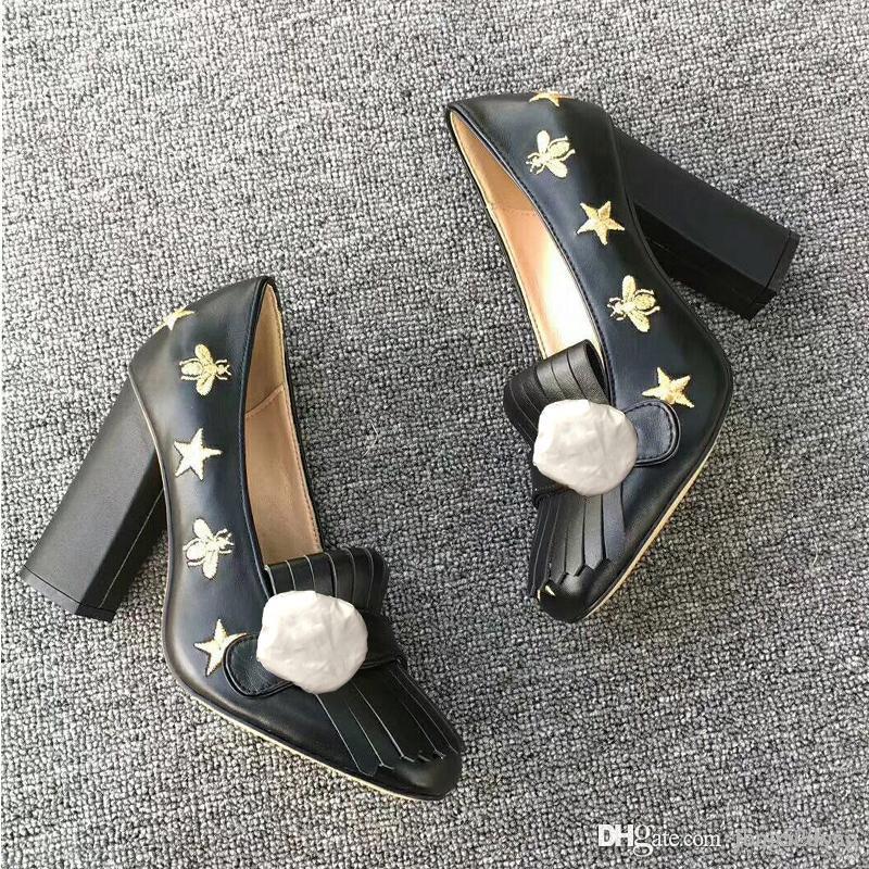 authentique designer luxe luxe peau de vache printemps automne Sexy chaussures de mariage banquet Bar épais talon bateau chaussures boucle en métal Bee femme