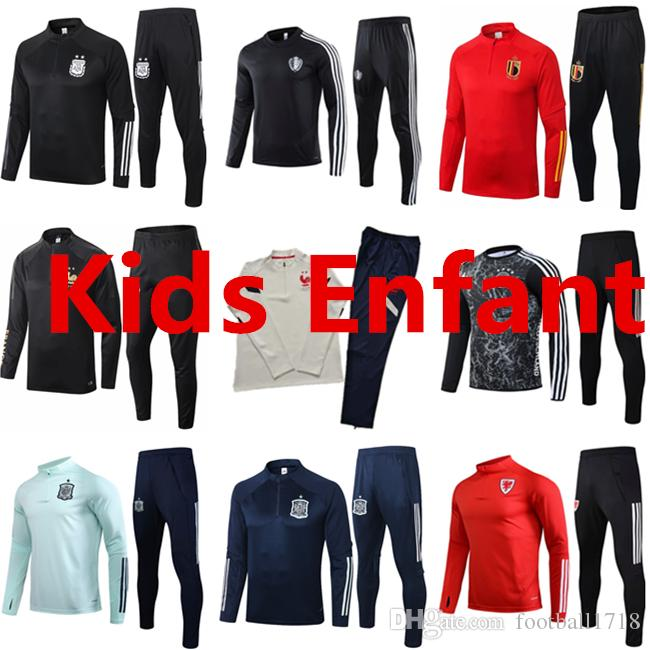 I bambini Spagna calcio tuta Survêtement calcio giacca 2020 2021 Frances formazione capretti del vestito Galles Belgio tute CHANDAL futbol