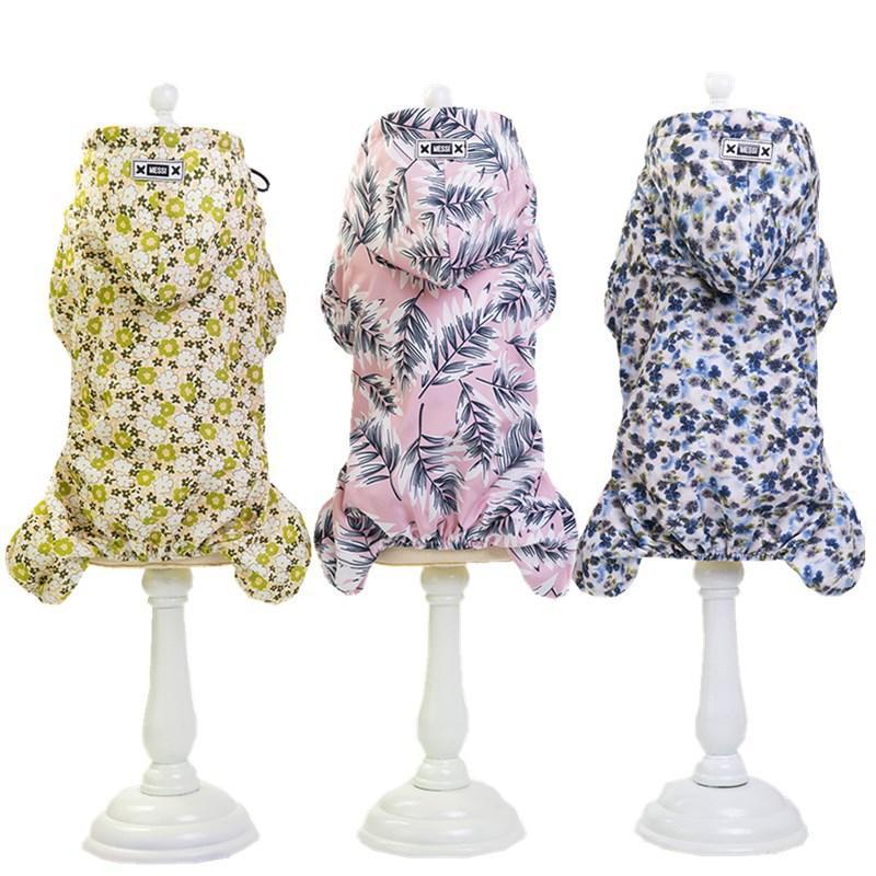 Drucken Blumen Vier Beine Hund Raincoat im Freien Gehen Small / Medium Hund Jumpsuits wasserfeste Kleidung Pullover Regenmäntel