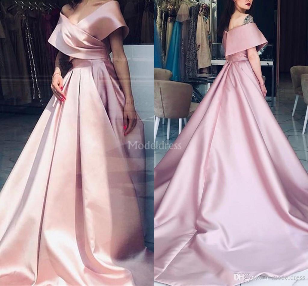 2019 robes de soirée simple col V profond Une ligne de balayage train fête officielle de bal Robes plissés Robes de Cérémonie Taille Plus solide Vestidos
