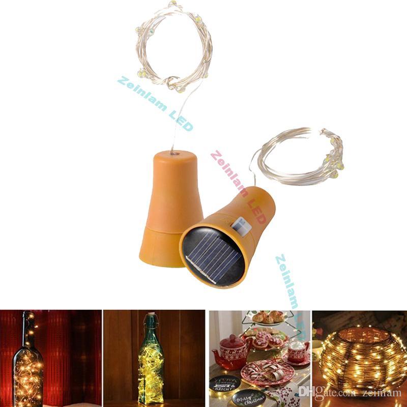 Dhl الشمسية النحاس سلسلة زجاجة النبيذ سدادة 1 متر 10led النحاس الجنية قطاع الأسلاك في حزب الديكور الجدة ليلة مصباح