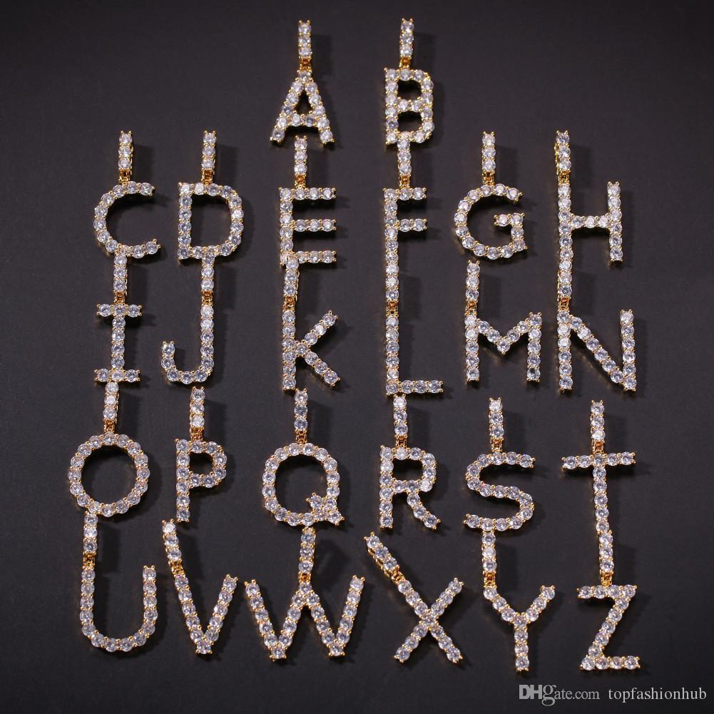 Collar colgante Nombre personalizado letra inicial A-Z para hombres y mujeres con la cadena de 24 pulgadas Inglés Carta colgante de Nueva