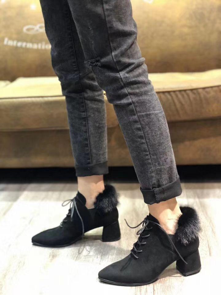 Mink Pelzkragen Damen Winter warm Samt dick mit Spitze Quaste Schuhe Leder Frauen Stiefel Boota Frauen starke Ferse Schuhe Futter