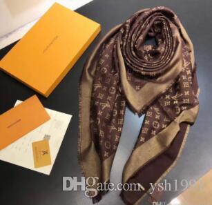 Neueste Brand New Schal für Frauen Luxus Letter-Muster Seide Wolle Cashmere Goldgewinde Thick Schals Warme Schals Größe 140x140cm