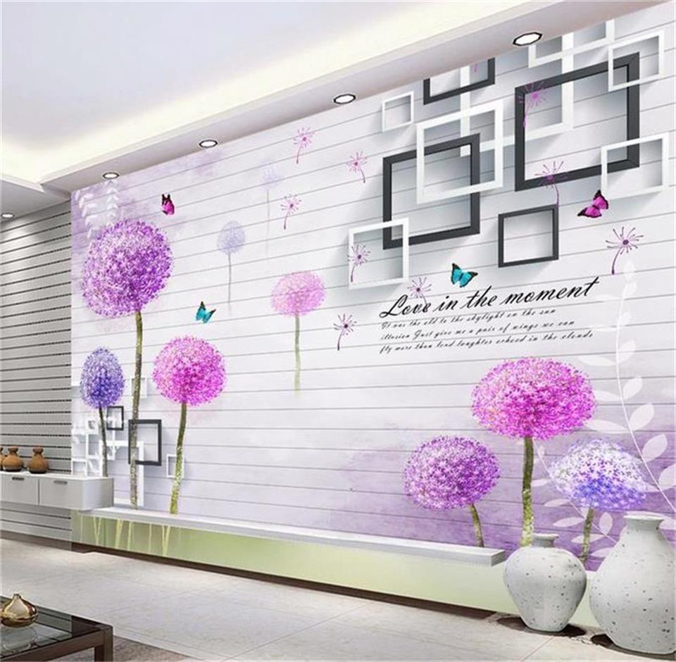 Personnalisé 3D Photo Papier Peint Murale Salon Murale Stéréo boîte pissenlit mode image Papier Peint BedRoom Canapé TV Toile De Fond Autocollant Décor À La Maison
